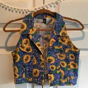 [Vintage] Crop Sunflower Jean Vest, Sz xs